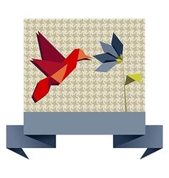 Single Origami hummingbird over textile pattern vector image