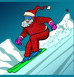 skier evening rides down mountain santa claus vector image