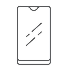 Smartphone with waterproof camera thin line icon vector