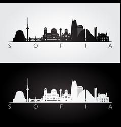 Sofia skyline and landmarks silhouette black vector