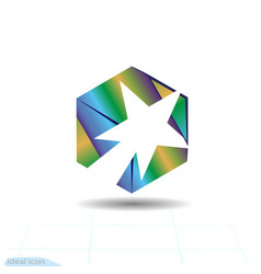 Stylish white comet and fire in cube success vector