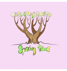 Stylized spring tree vector