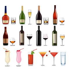 super group of drinks and cocktails vector image
