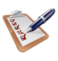 survey clipboard and pen vector image