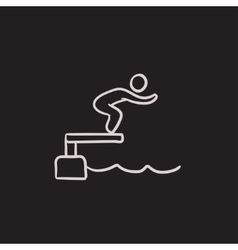 Swimmer jumping in pool sketch icon vector