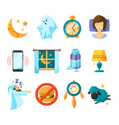 symbols of night sleeping icon set insomnia vector image