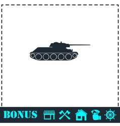 Tank military icon flat vector