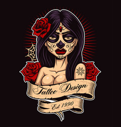 Tattoo girl color version vector
