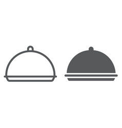 Tray line and glyph icon cover and dish vector