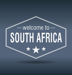 Welcome to South Africa hexagonal white vintage vector