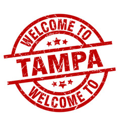 welcome to tampa red stamp vector image