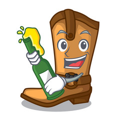 with beer leather cowboy boots shape cartoon funny vector image
