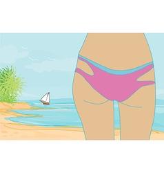 Woman in bikini at a beach watching the sea vector image