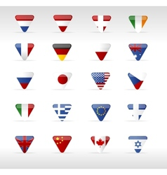 world flags triangle arrow vector image