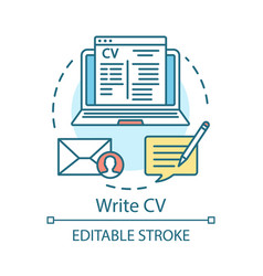 Write cv concept icon resume curriculum vitae vector