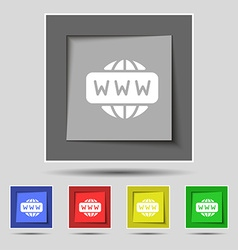 WWW icon sign on original five colored buttons vector image