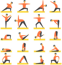 yoga poses asanas set vector image