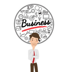 businessman thinking about business with icon vector image vector image