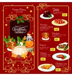 Christmas menu template for restaurant design vector image vector image