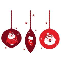 christmas retro decoration set vector image