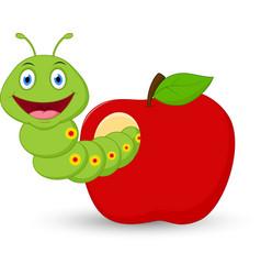 cute worm cartoon in the apple vector image