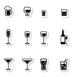 Drink Icons as Labels vector image