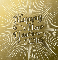 Happy New Year 2016 gold greeting card firework vector image vector image