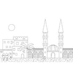 Islamic outline cityscape with mosque and minaret vector image