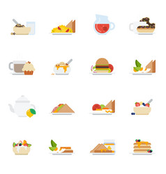 set of breakfast icons in flat style vector image