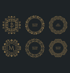 set of circular baroque patterns vector image
