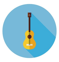 Flat Acoustic String Guitar Circle Icon with Long vector image