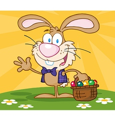 Happy Easter Bunny Carrying A Basket Of Eggs vector image