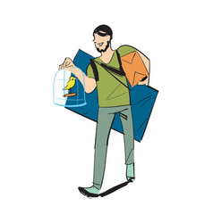 man carry home furniture icon vector image vector image