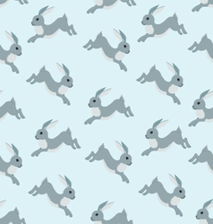 Seamless pattern with running hare vector image