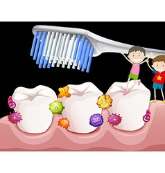 Boys brushing teeth with bacteria vector