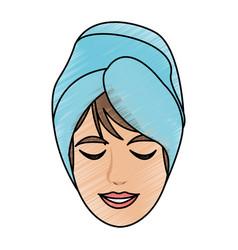 color pencil cartoon face woman with towel in head vector image