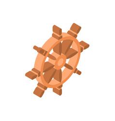 ship steering wheel icon isometric isolated vector image