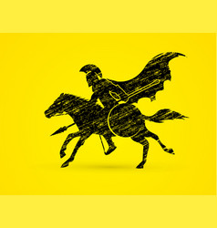spartan warrior riding horse with spear and shield vector image
