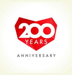 200 anniversary heart logo vector
