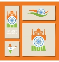abstract flags for Indian independence day card vector image