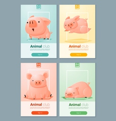 Animal banner with Pigs for web design 5 vector image