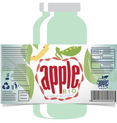 Apple juice product label vector image