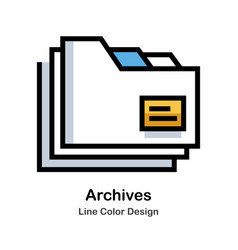Archives line color icon vector