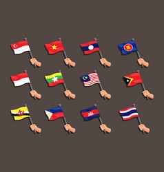 Asean collection flag with hand symbol set vector