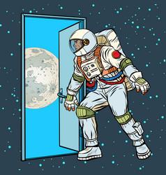 astronaut step on moon vector image