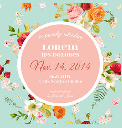 Baby shower invitation floral greeting card vector