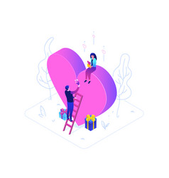 be my valentine - modern colorful isometric vector image