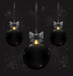 beautiful christmas balls in black color on dark vector image