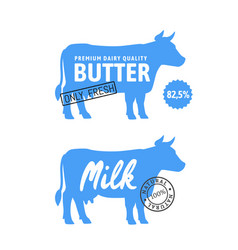 blue silhouette cow with milk and butter vector image