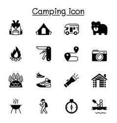 camping icons set graphic design vector image